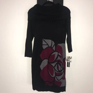 Madison Leigh Black Dress with a Floral Pattern